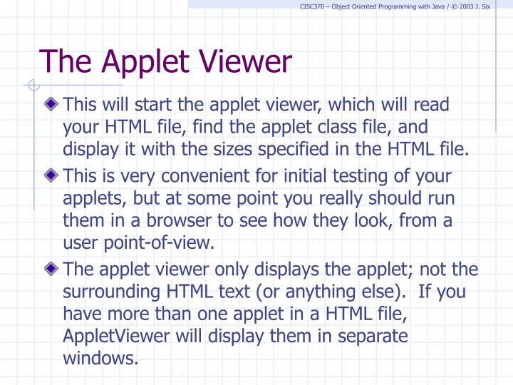 The Applet Viewer