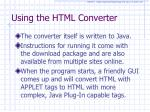 using the html converter