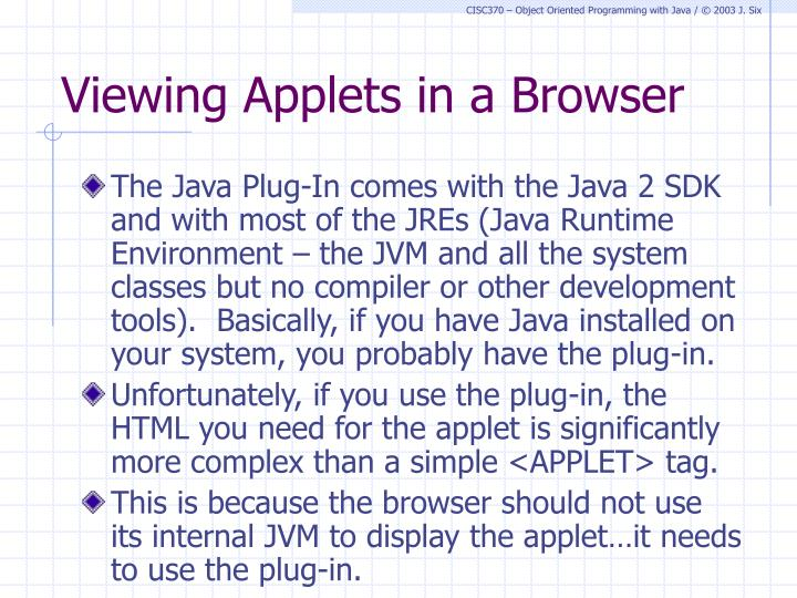 Viewing Applets in a Browser