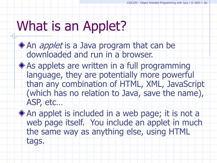 What is an applet