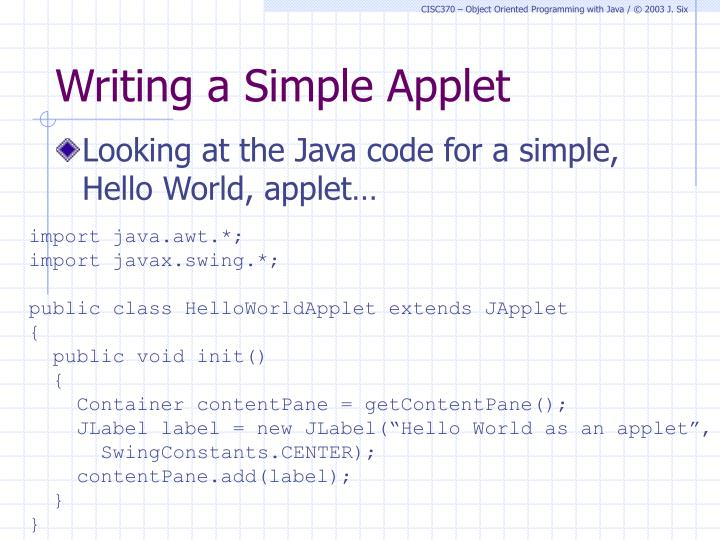 Writing a Simple Applet