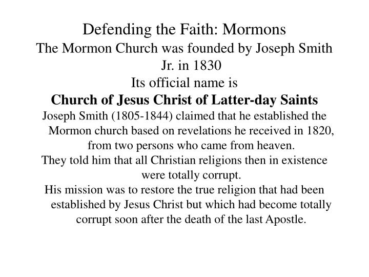 Defending the faith mormons