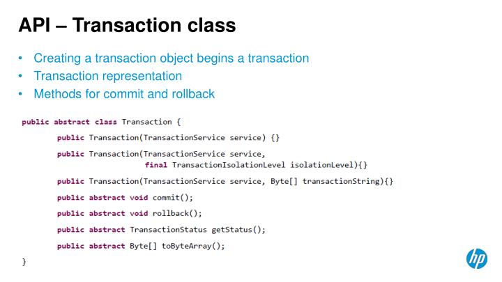 API – Transaction class