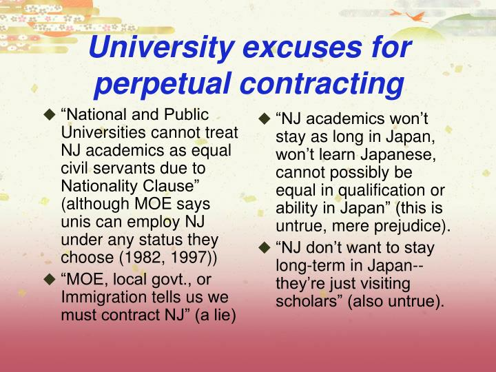 """National and Public Universities cannot treat NJ academics as equal civil servants due to Nationality Clause"" (although MOE says unis can employ NJ under any status they choose (1982, 1997))"