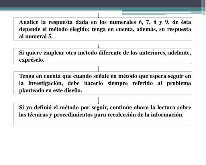 Analice la respuesta dada en los numerales 6, 7, 8 y 9. de ésta depende el método elegido; tenga en cuenta, además, su respuesta al numeral 5.