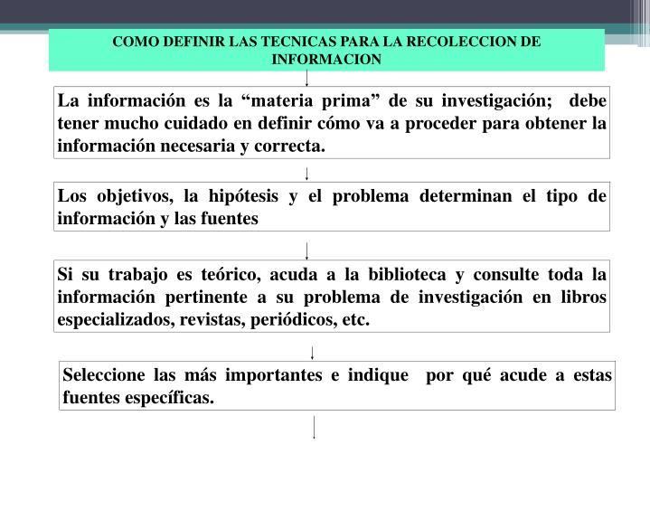 """La información es la """"materia prima"""" de su investigación;  debe tener mucho cuidado en definir cómo va a proceder para obtener la información necesaria y correcta."""
