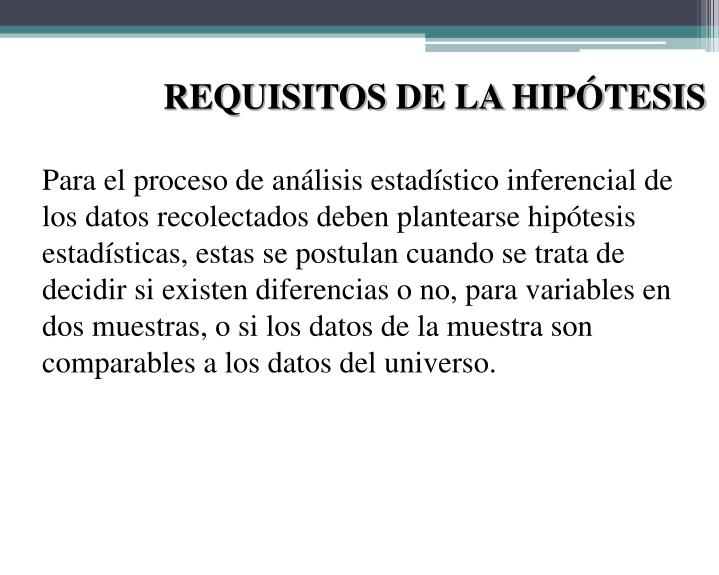 REQUISITOS DE LA HIPÓTESIS