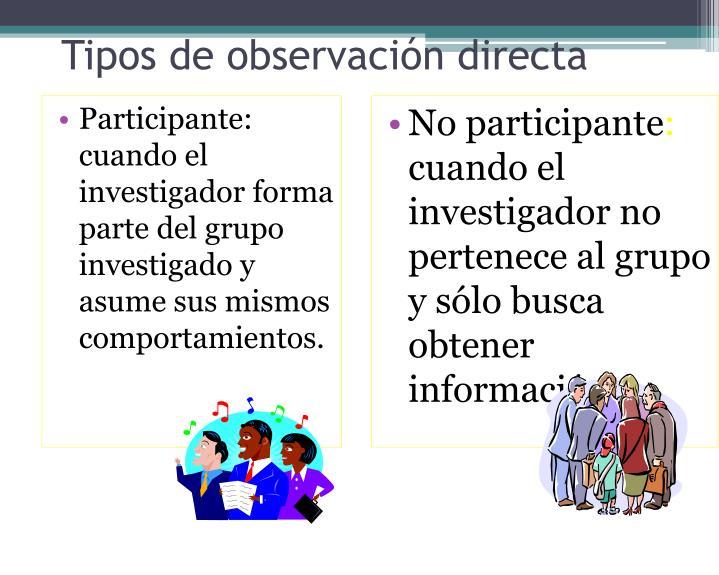 Participante: cuando el investigador forma parte del grupo investigado y asume sus mismos comportamientos.