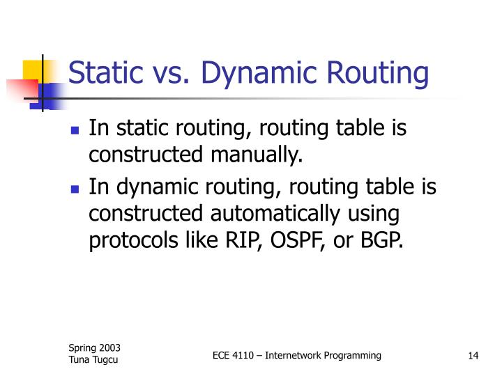 Static vs. Dynamic Routing