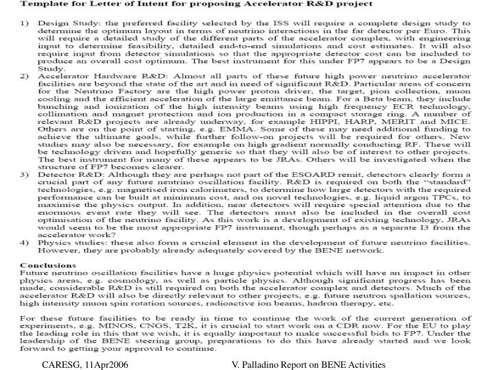V. Palladino Report on BENE Activities