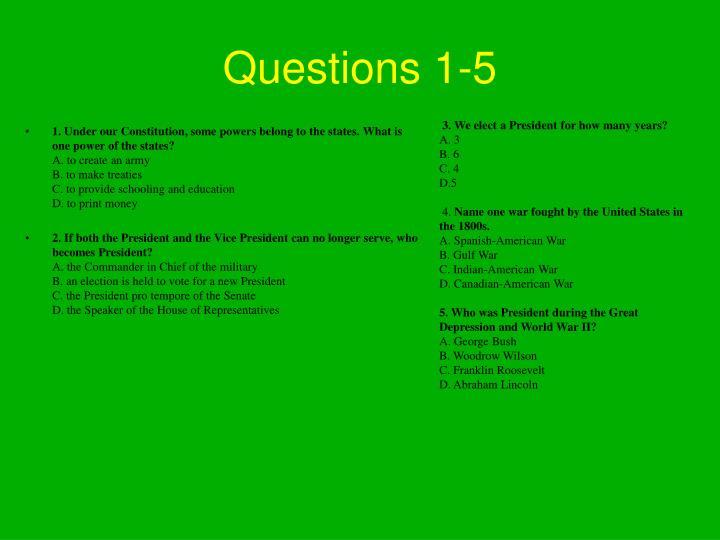 Questions 1-5