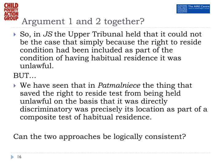 Argument 1 and 2 together?