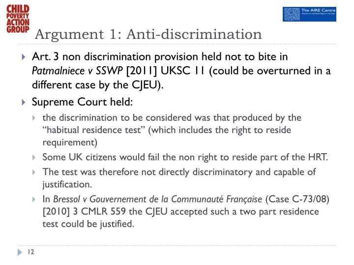 Argument 1: Anti-discrimination