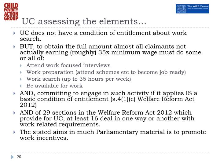 UC assessing the elements…
