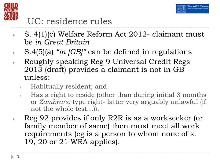 UC: residence rules