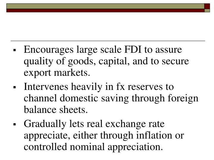 Encourages large scale FDI to assure quality of goods, capital, and to secure export markets.