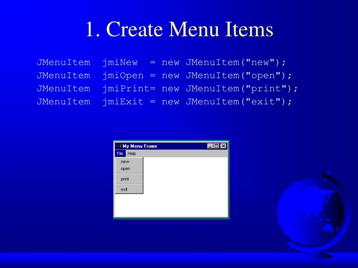 1. Create Menu Items