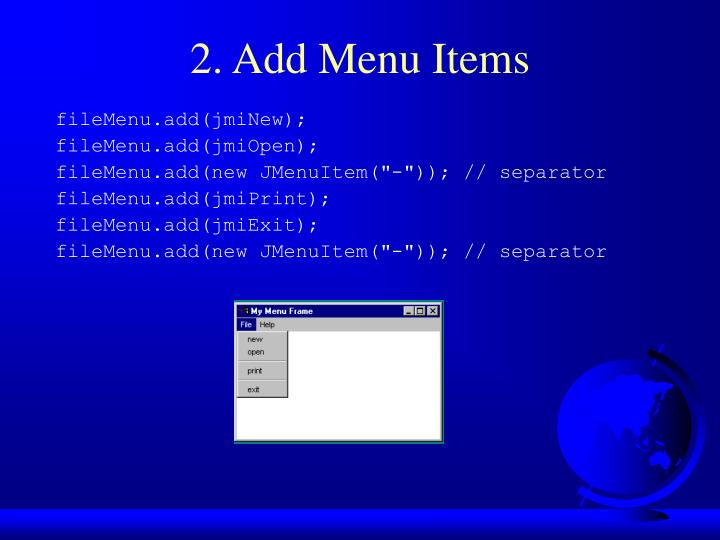 2. Add Menu Items