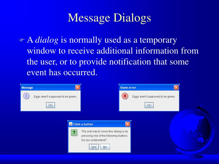 Message Dialogs