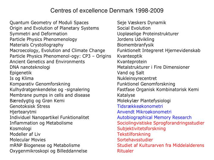 Centres of excellence Denmark 1998-2009