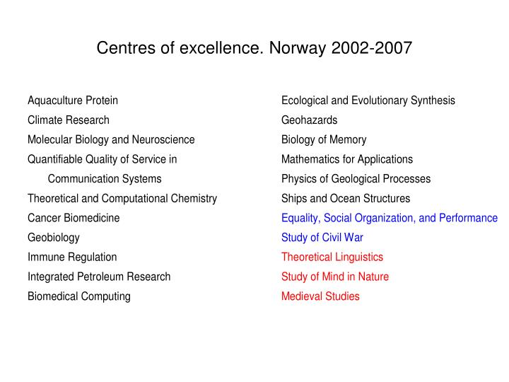 Centres of excellence. Norway 2002-2007