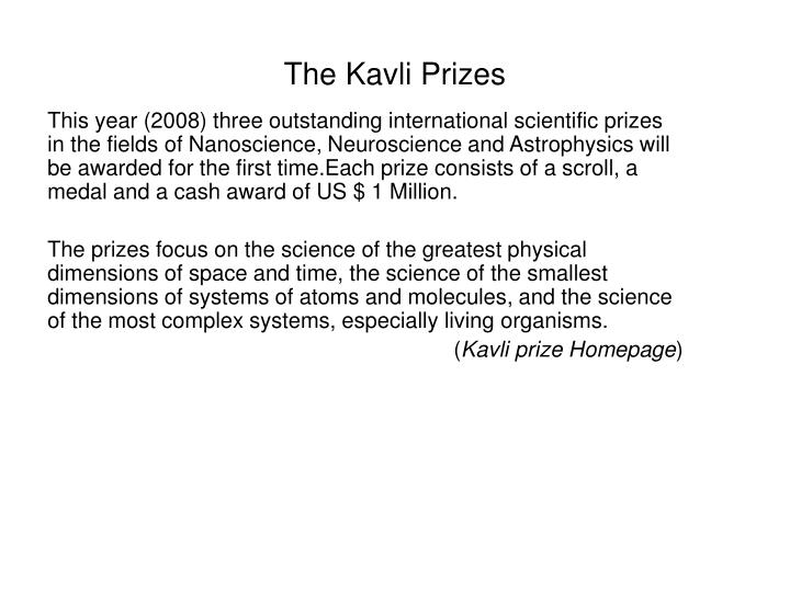 The Kavli Prizes
