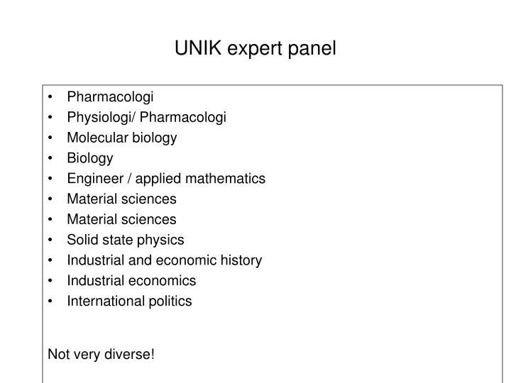 UNIK expert panel