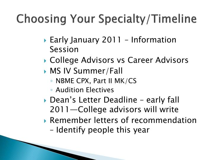 Choosing Your Specialty/Timeline