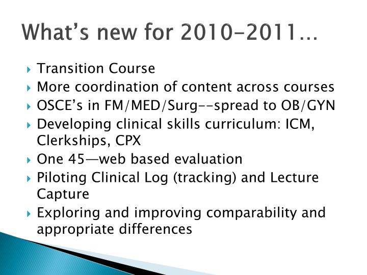 What's new for 2010-2011…