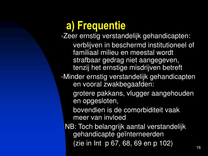 a) Frequentie