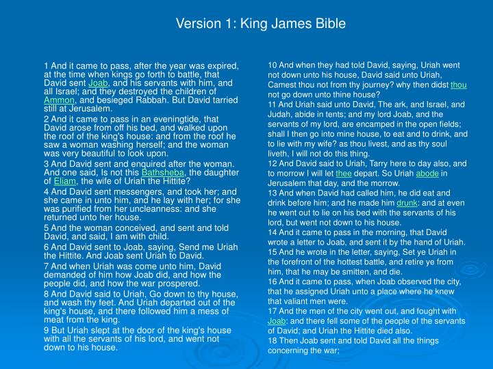Version 1: King James Bible