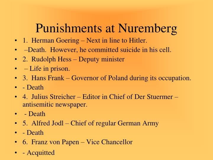 Punishments at Nuremberg