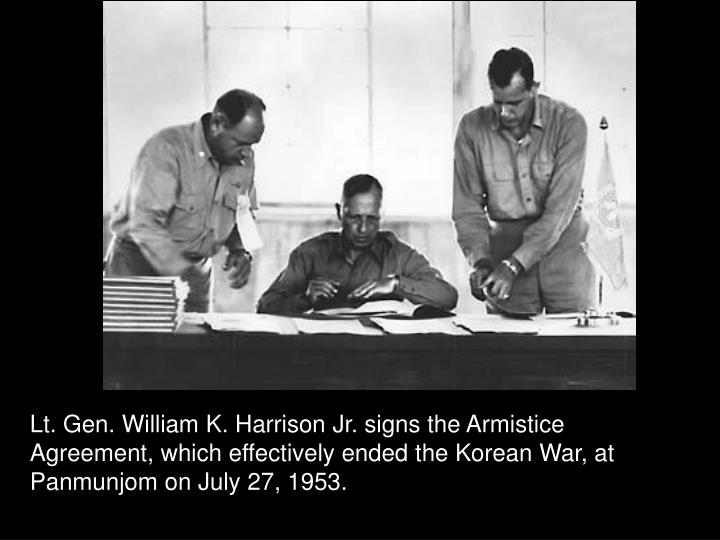 Lt. Gen. William K. Harrison Jr. signs the Armistice Agreement, which effectively ended the Korean War, at Panmunjom on July 27, 1953.