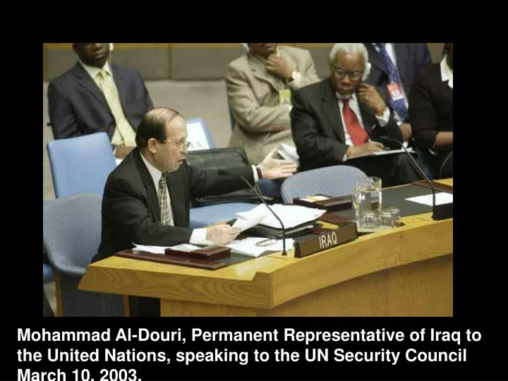 Mohammad Al-Douri, Permanent Representative of Iraq to the United Nations, speaking to the UN Security Council