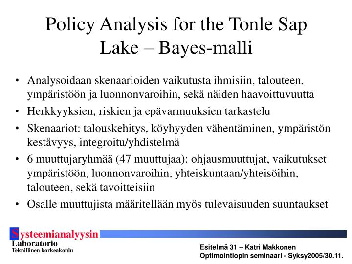 Policy Analysis for the Tonle Sap Lake – Bayes-malli
