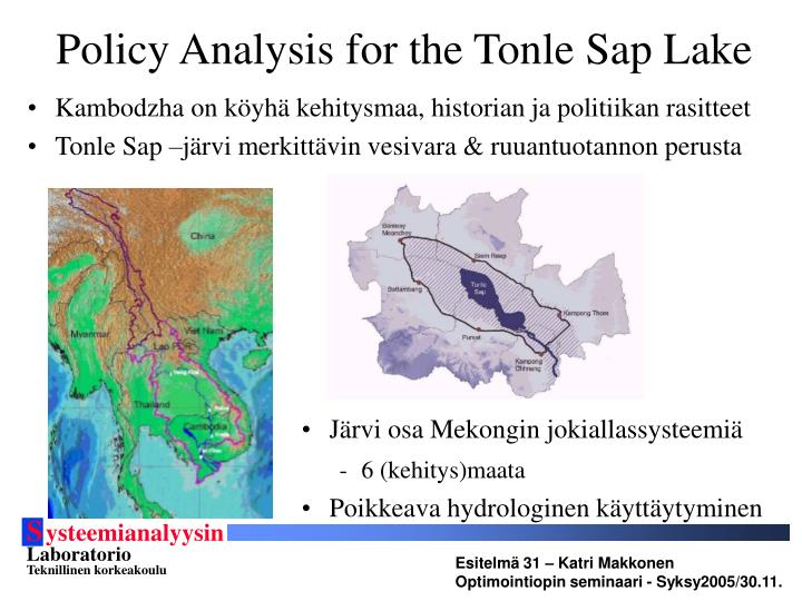 Policy Analysis for the Tonle Sap Lake