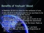 benefits of yeshuah blood
