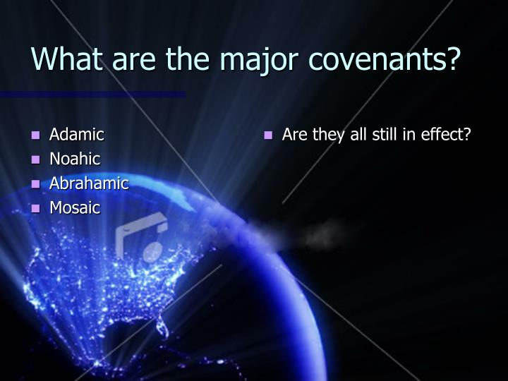 What are the major covenants?