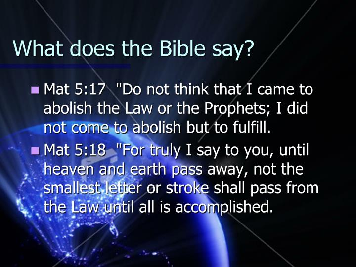 What does the Bible say?