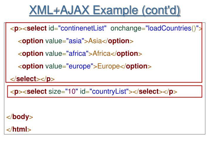 XML+AJAX Example (cont'd)