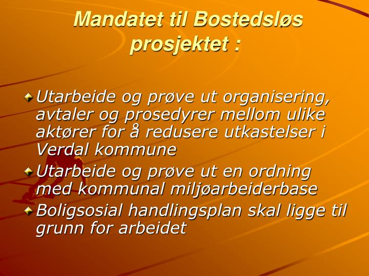 Mandatet til Bostedsløs prosjektet :