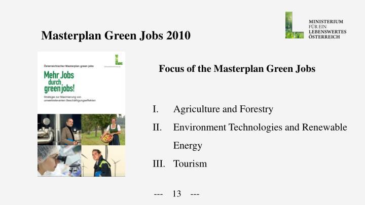 Masterplan Green Jobs 2010