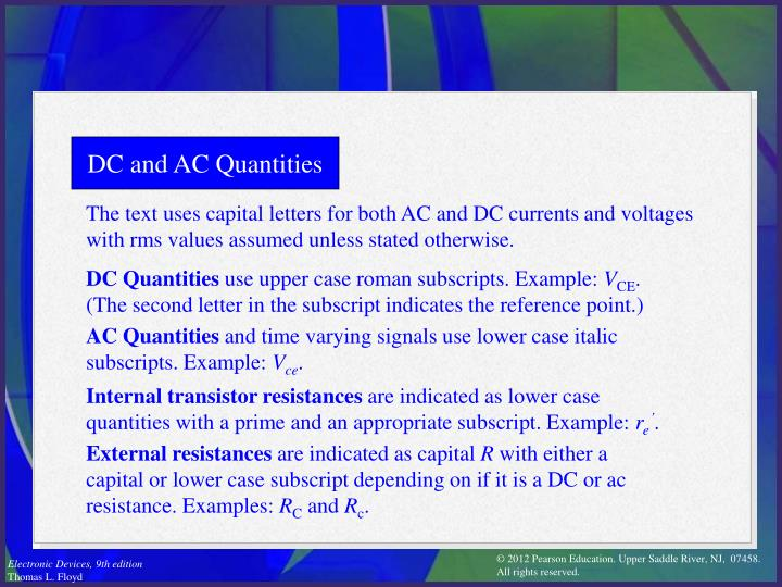 DC and AC Quantities