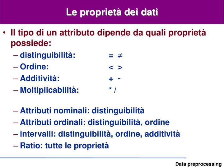 Le proprietà dei dati