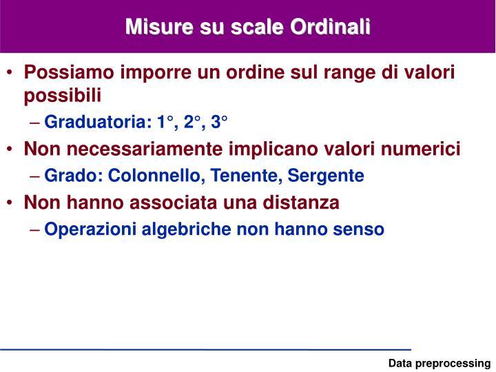 Misure su scale Ordinali