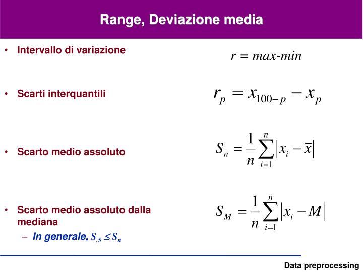 Range, Deviazione media
