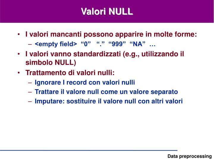 Valori NULL