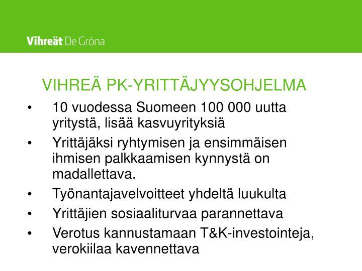 VIHREÄ PK-YRITTÄJYYSOHJELMA