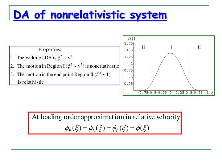 DA of nonrelativistic system