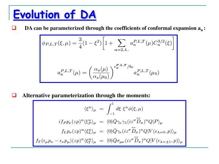 Evolution of DA